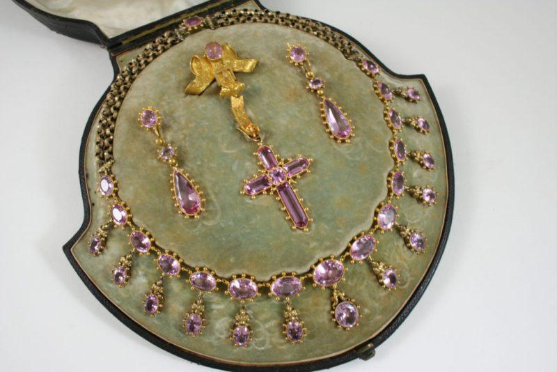 Victorian pink topaz parure