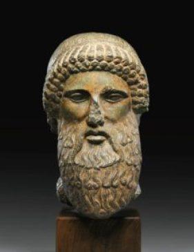 Roman black marble head