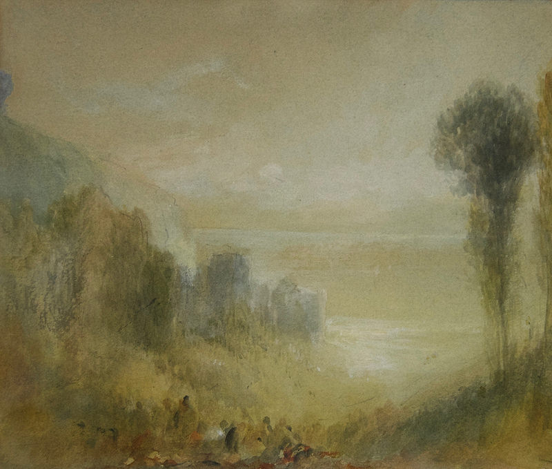Watercolour sketch of Tancarville, by the Romantic painter J. M. W. Turner