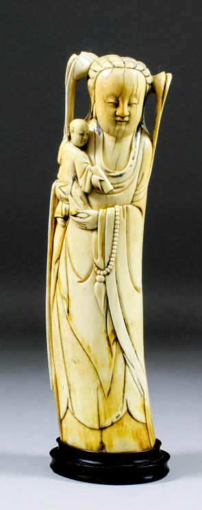 17th century ivory standing figure of Guanyin