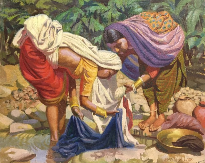 Edward D'Arcy Lister painting of Indian women