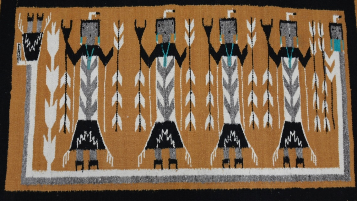 130213 04 Navajo Rug Yei With Rainbow Figure