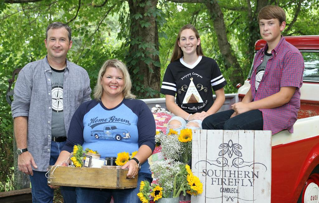 The family behind Southern Firefly Candle Co. (left to right: