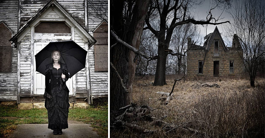 LEFT: Francesca Catalini outside an abandoned building. RIGHT: The 1889 home of Mary Rickman Anderson and her children
