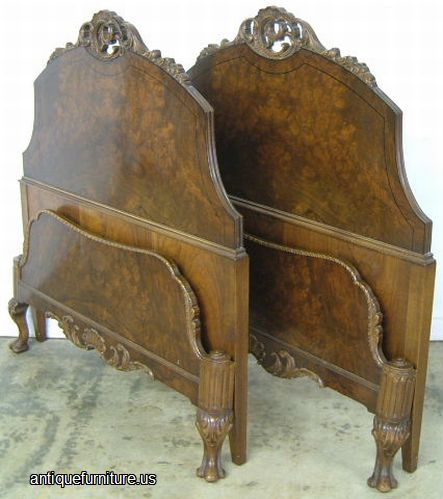 Antique Pair Romweber Burl Walnut Twin Beds At Antique