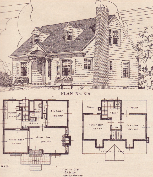 Colonial Revival Cape Cod House Plans The Portland Telegram Plan Book Oregon No 619