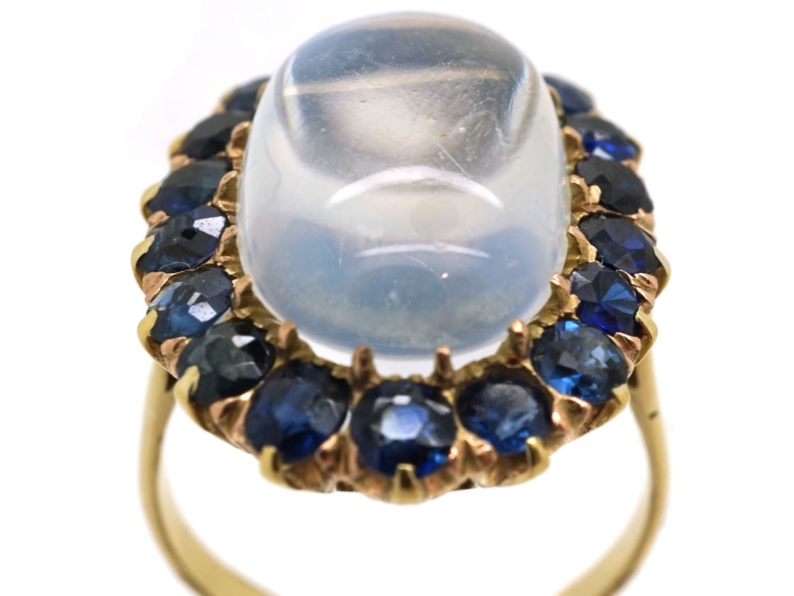 18ct Gold Large Moonstone Amp Sapphire Ring The Antique