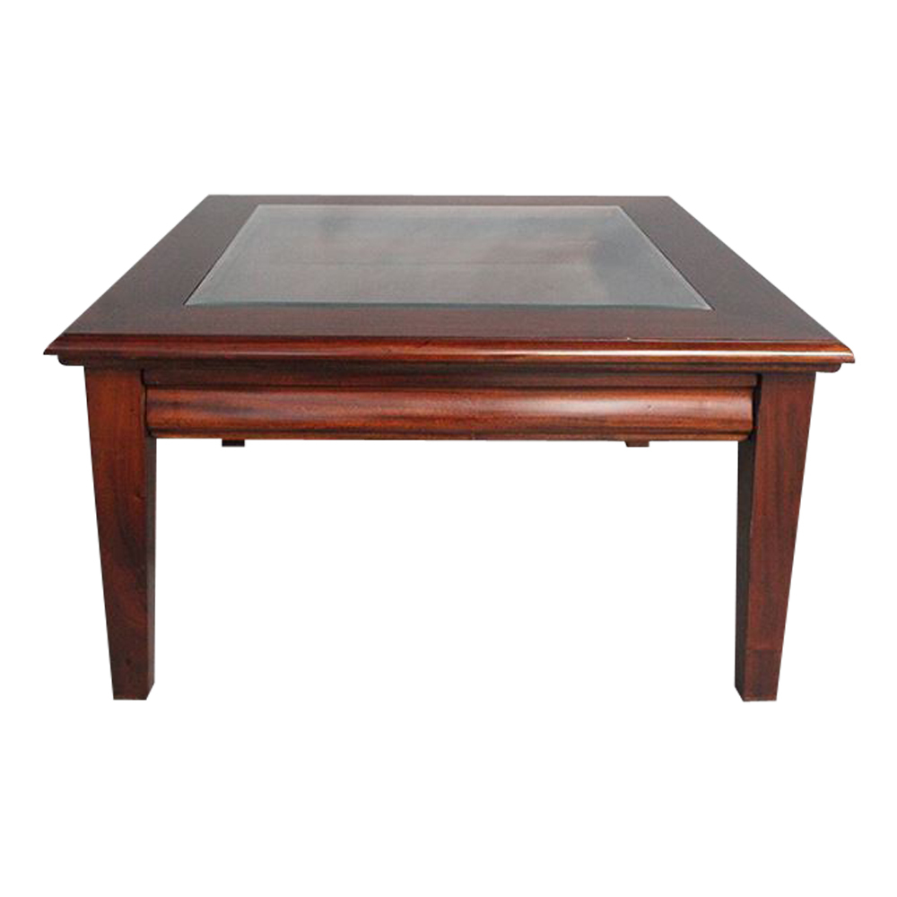 antique style mahogany timber square coffee table with drawer