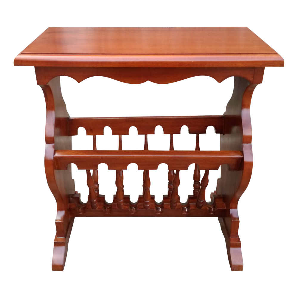 antique style mahogany timber reproduction side table magazine newspaper rack mc 09