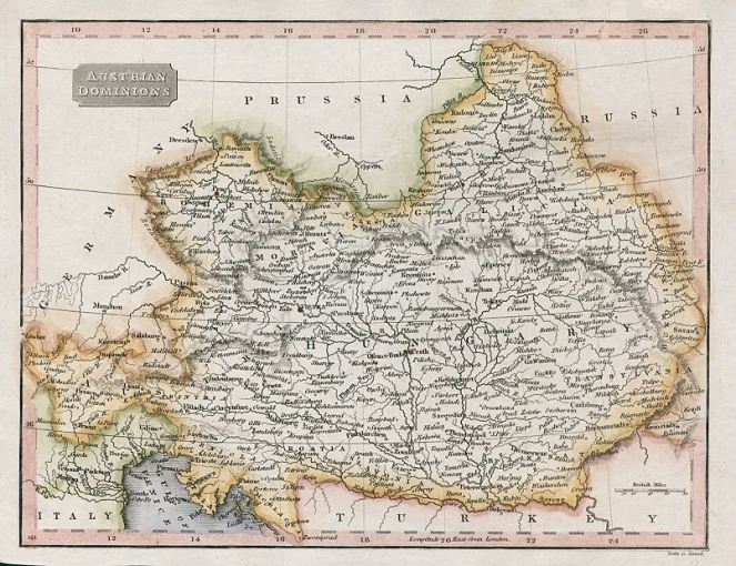 Old and antique prints and maps  Austria map  1820  Europe  antique maps Austria map  1820