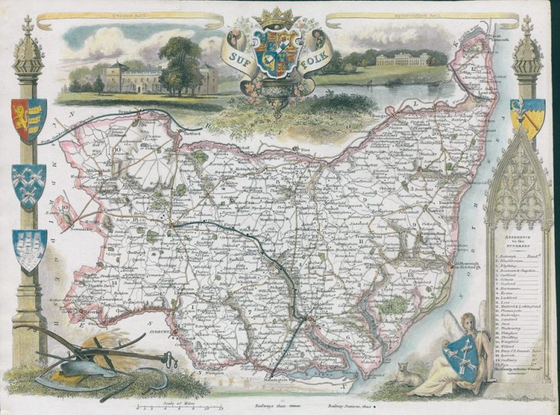 Old and antique prints and maps  Suffolk  Moule map  1850  Suffolk     Suffolk  Moule map  1850