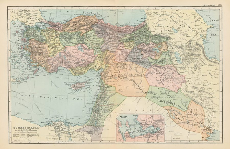 Old and antique prints and maps  Turkey in Asia and Middle East     Turkey in Asia and Middle East  c1890