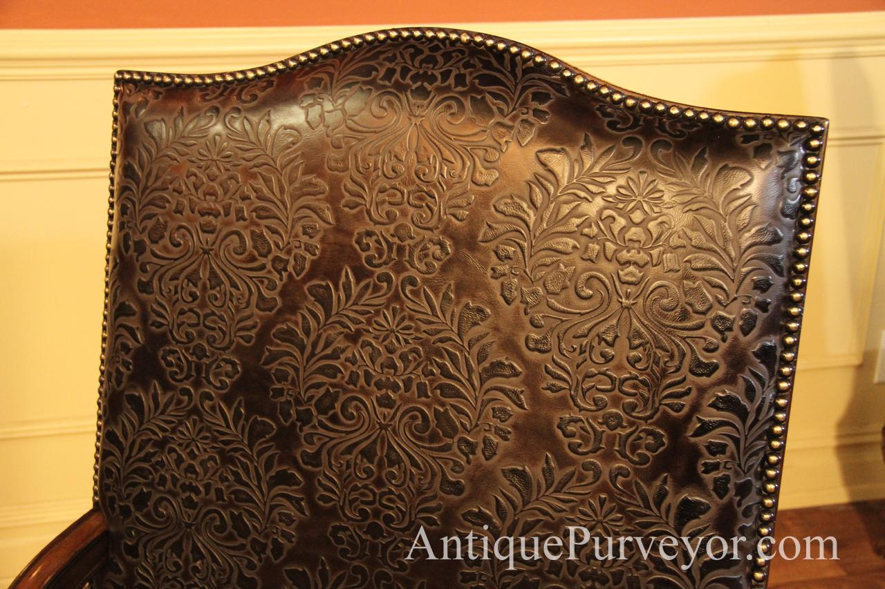 Brown Hair Hide And Embossed Leather Upholstered Captain
