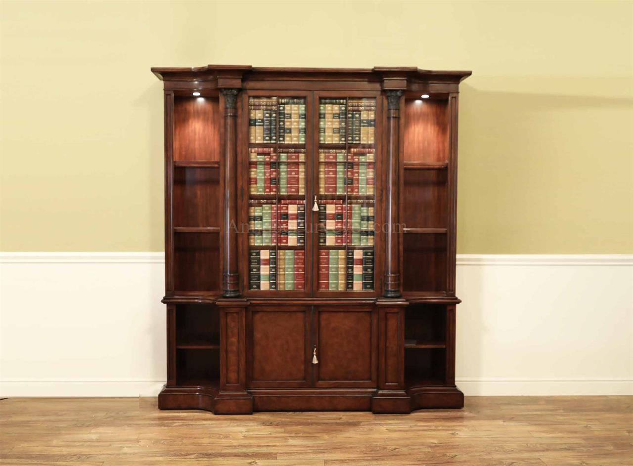 Designer Mahogany Faux Doors Bookcase With Adjustable Shelves