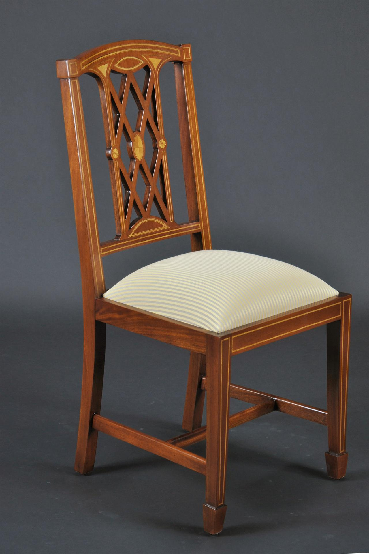 Edwardian Inlaid Solid Mahogany Dining Room Chairs