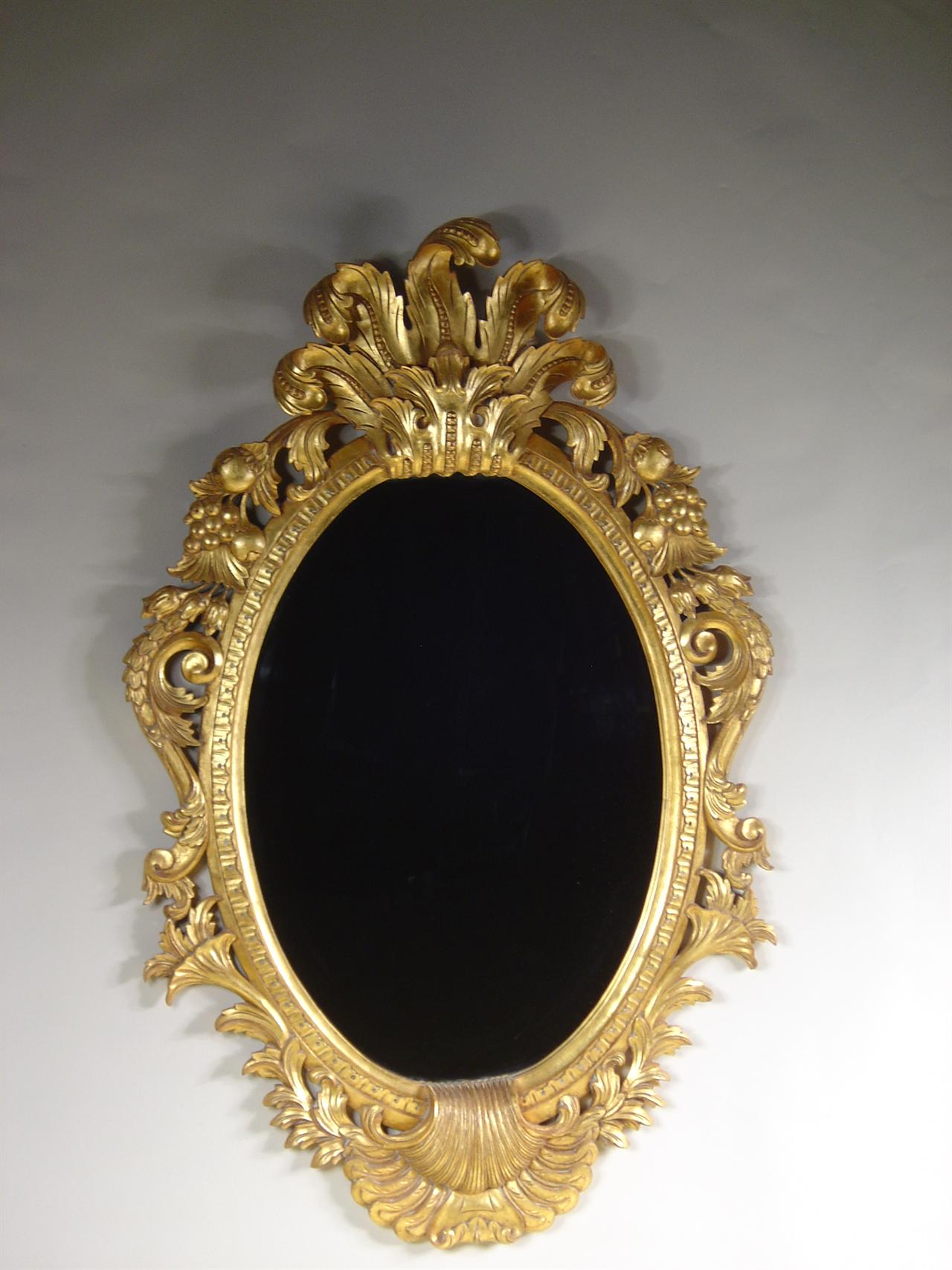 Solid Mahogany Mirror With Gold Leaf Hand CarvedBeveled