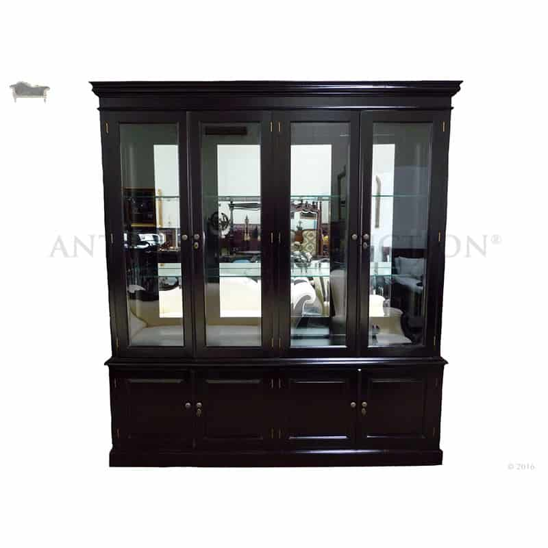 Bookcase Tall 4 Door Display Cabinet Antique Reproduction