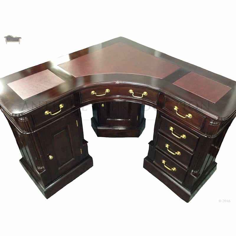 Partners Style Corner Desk Writing Officce Table Antique