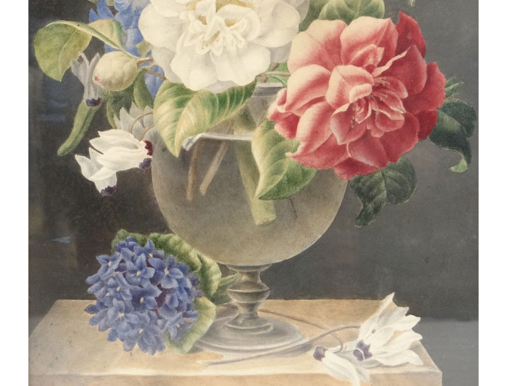 Aquarelle Tableau Nature Morte Bouquet De Fleurs