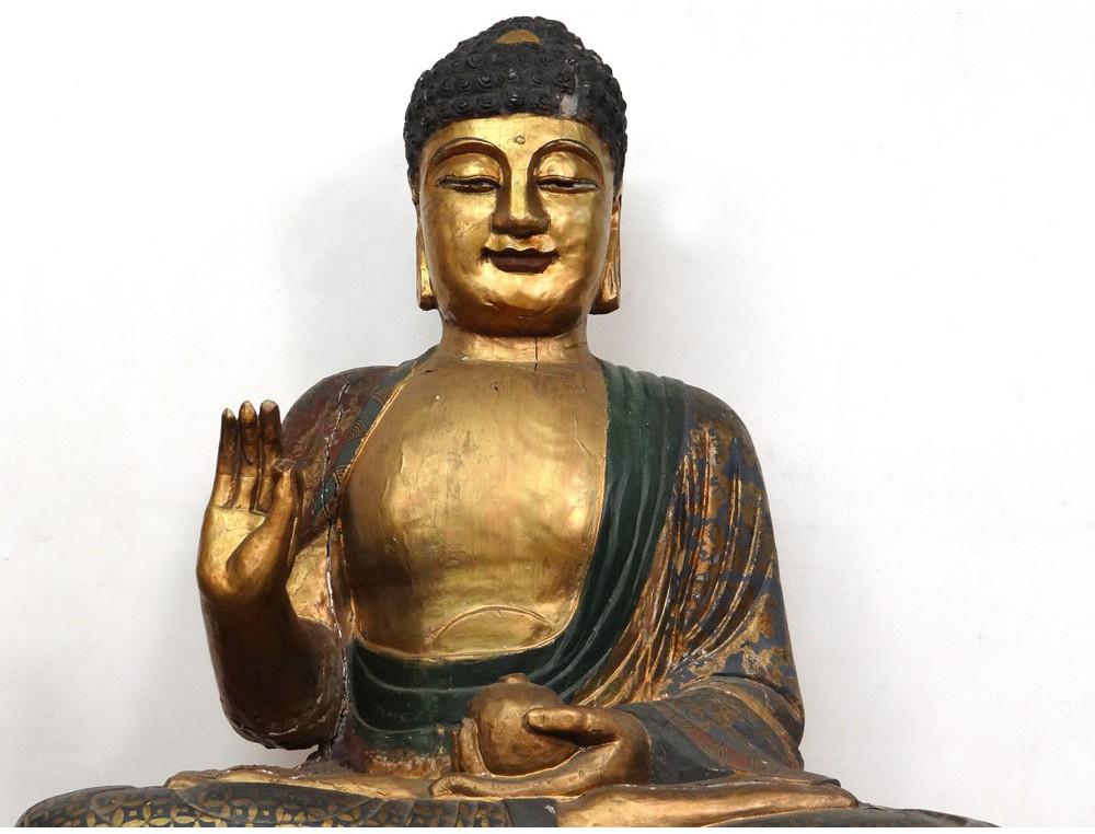 Grande Sculpture Statue Bouddha Indon 233 Sie Bouddhisme Bois