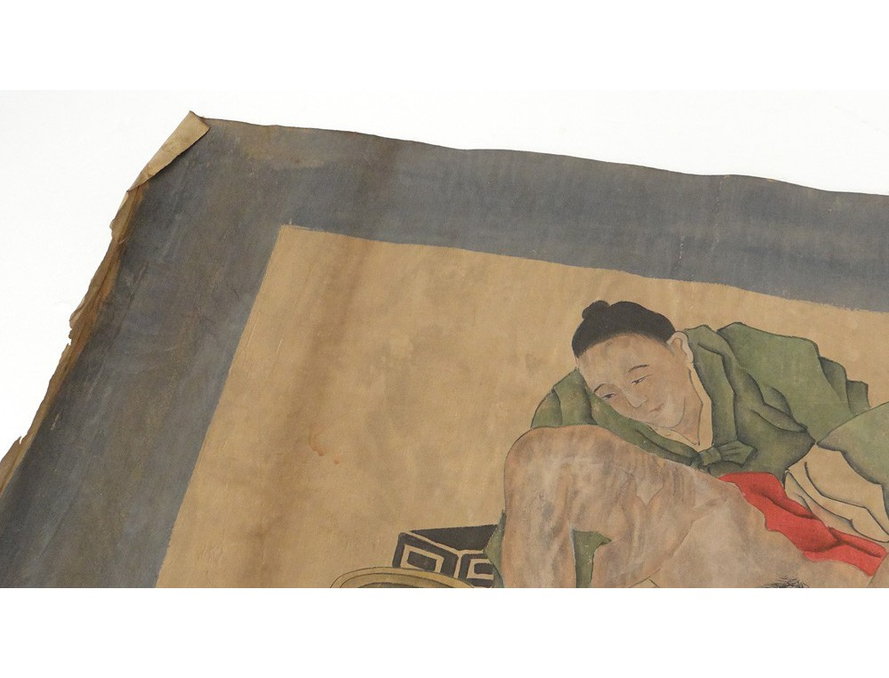 Peinture Rotique Couple Chinois Personnages Kamasutra Chine XIXme Sicle