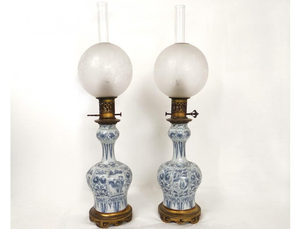 Paire Lampes 224 P 233 Trole Porcelaine Chinoise Personnages
