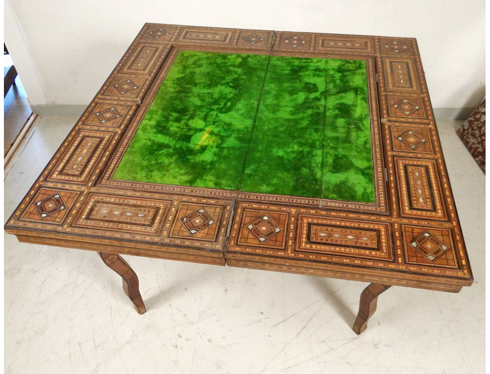 syrian game table inlaid mother of