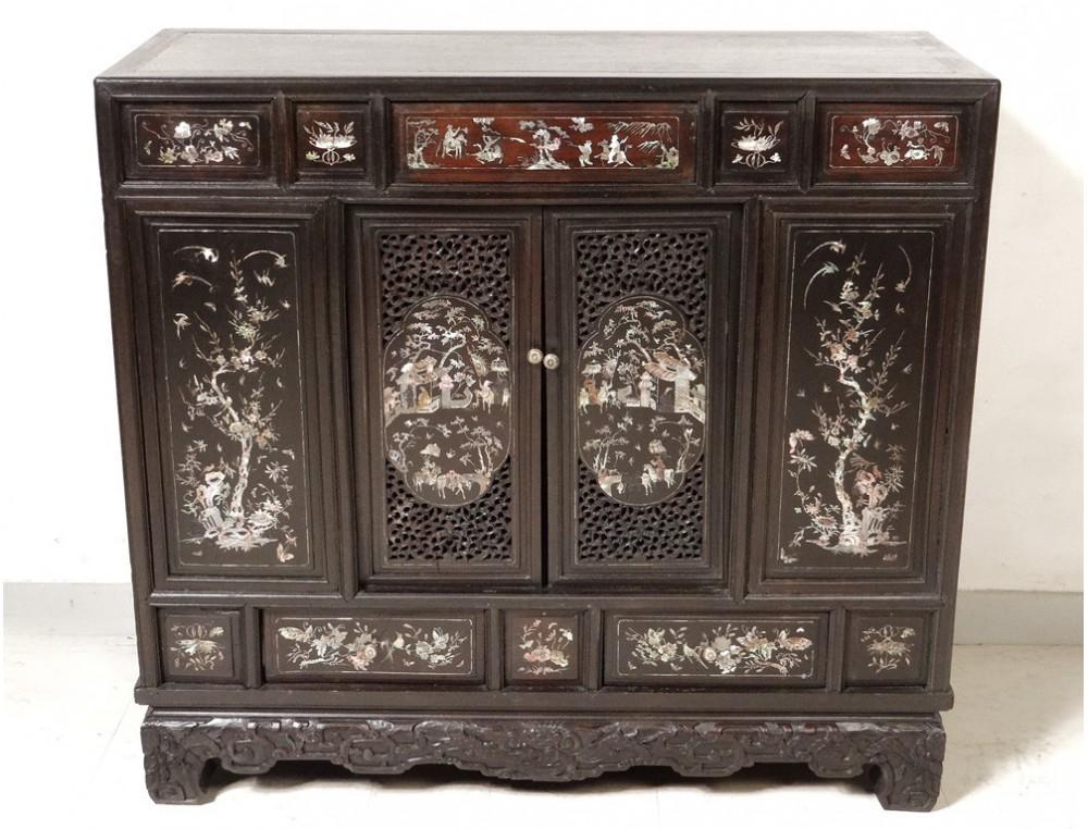 petit meuble cabinet bois nacre