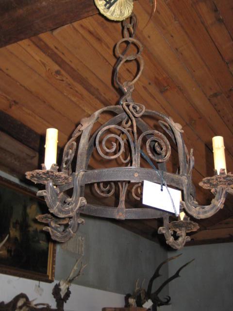 Origin France Description Wrought Iron Chandelier Height 21 Width 23 Depth Antique Lamps And Lighting