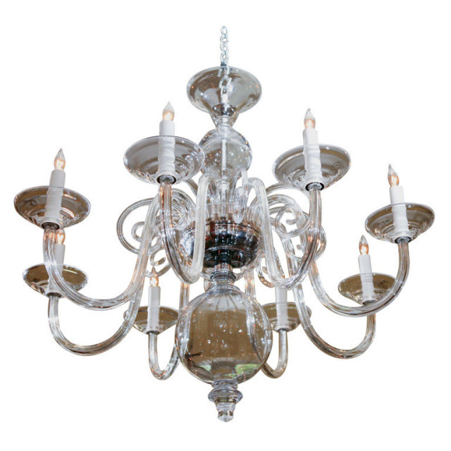 A Eight 8 Arm Chandelier In Hand N Clear Glass Newly Wired For Usa Status Reference Ad 4 9 9828 Condition Excellent Year 2006 Country