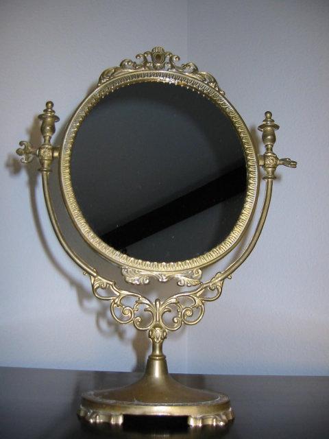 Ormolu Vingage Brass Vanity Table Top Mirror For Sale