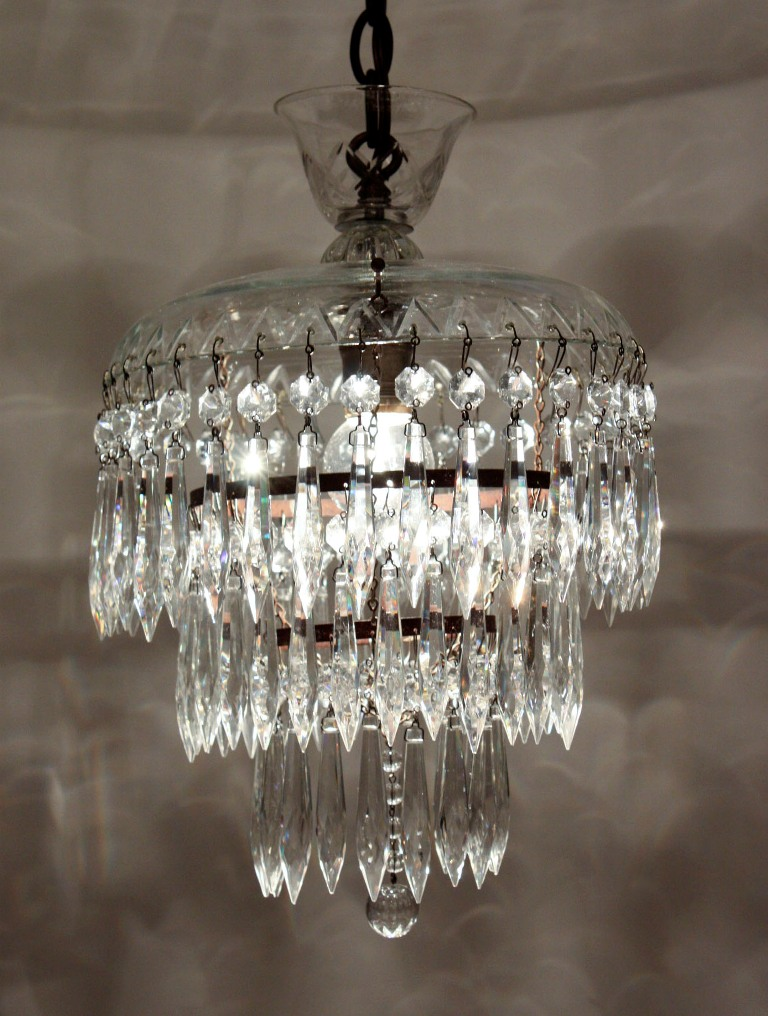 Petite Antique Three Tier Crystal Chandelier With Glass