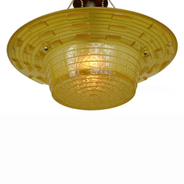 Antique Amber Glass Art Deco Bowl Shade Ceiling Light Fixture     Antique Amber Glass Art Deco Bowl Shade Ceiling Light Fixture Lighting   ANT 371    For Sale