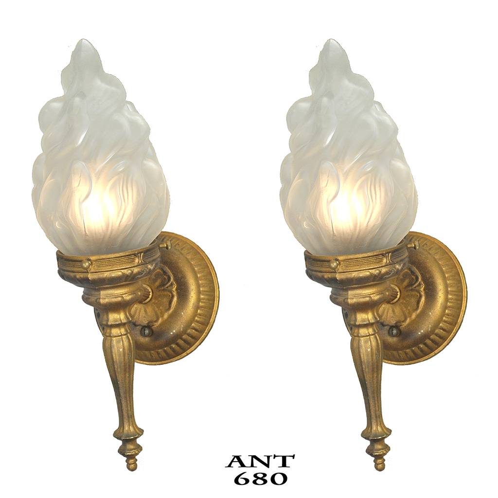 Flame Torch Style Wall Sconces Old Gold Color Vintage ... on Vintage Wall Sconces id=14201
