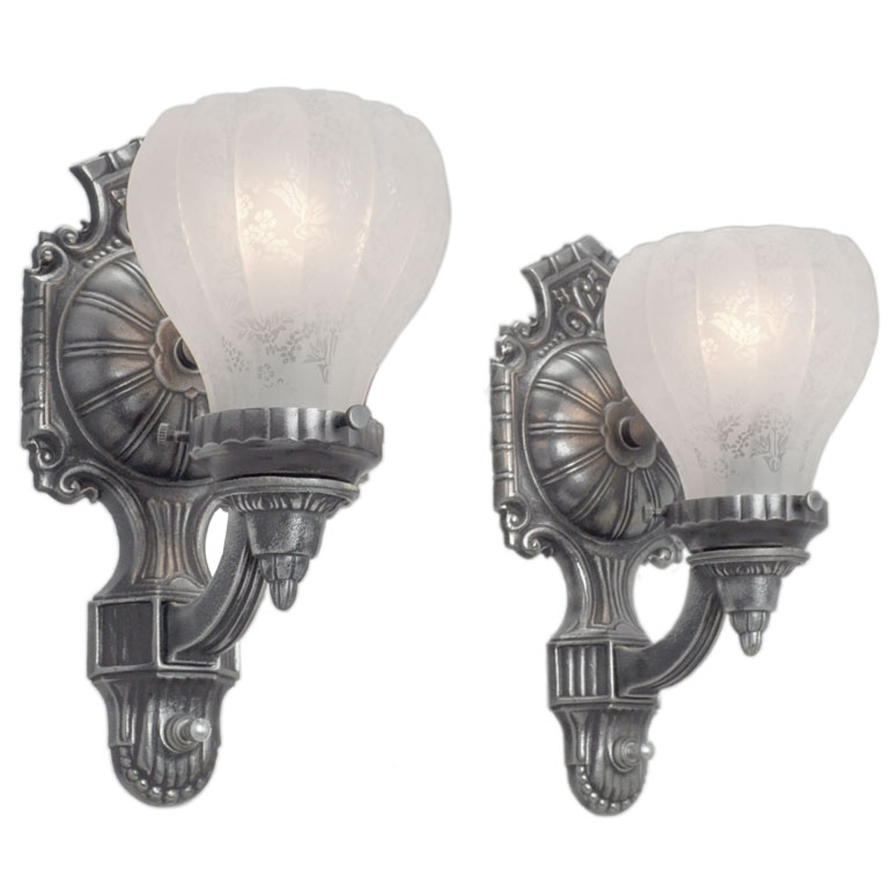 Antique Edwardian Style Pair of Pewter Color Wall Sconces ... on Vintage Wall Sconces id=32687