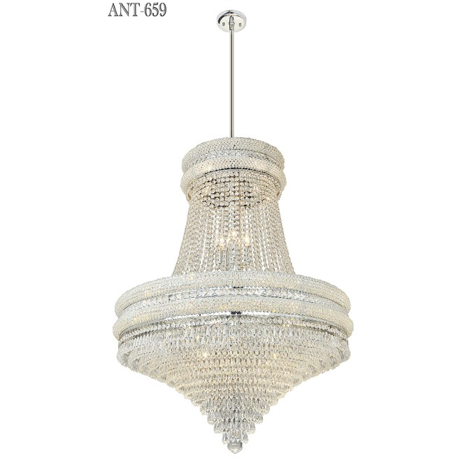Large Crystal Chandelier Nickel 22 Light Tent Waterfall Tier Form Ant 659 For Antiques Classifieds