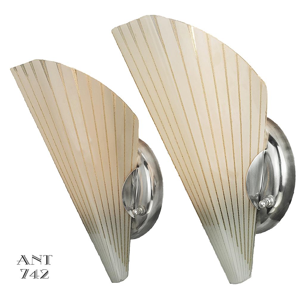 MidCentury Modernist Pair of Vintage Slip Shade Wall ... on Mid Century Modern Sconces id=64266