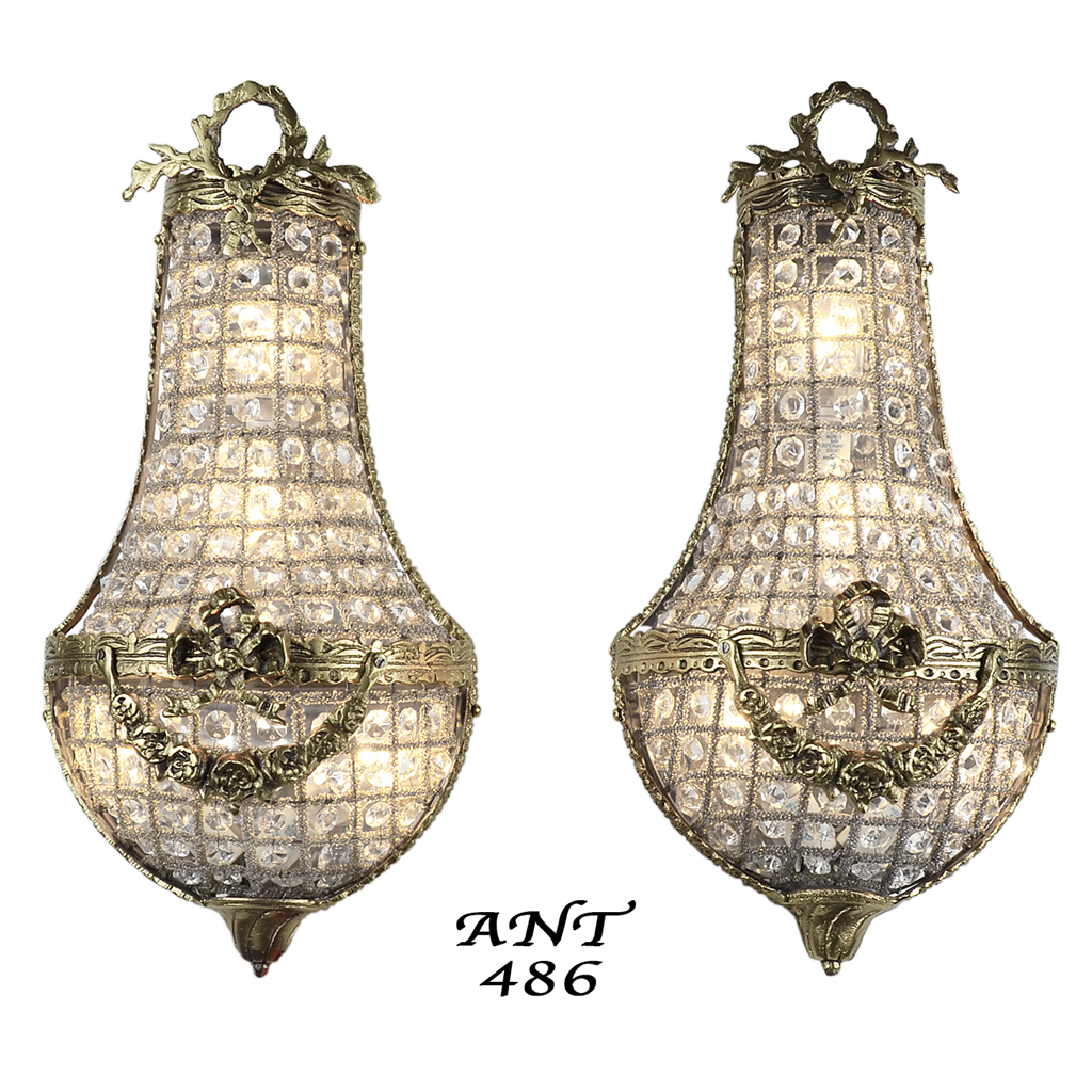 Antique French Basket Style Crystal Wall Sconce Lights ... on Vintage Wall Sconces id=43938