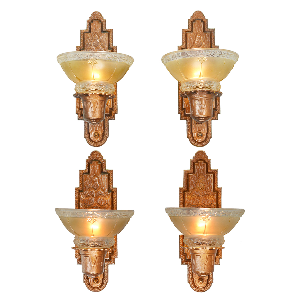 Set of Four Antique Red Bronze Finish Sconces Circa 1910s ... on Vintage Wall Sconces id=39319