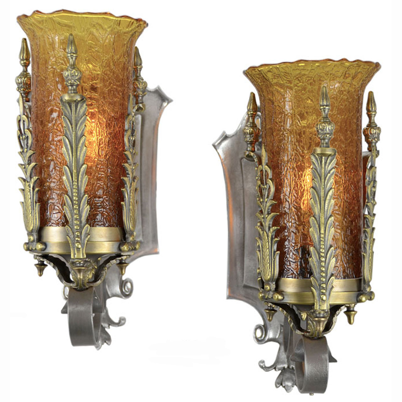 Pair of Antique 1920s - 1930s Art Deco Wall Sconces with ... on Vintage Wall Sconces id=66340