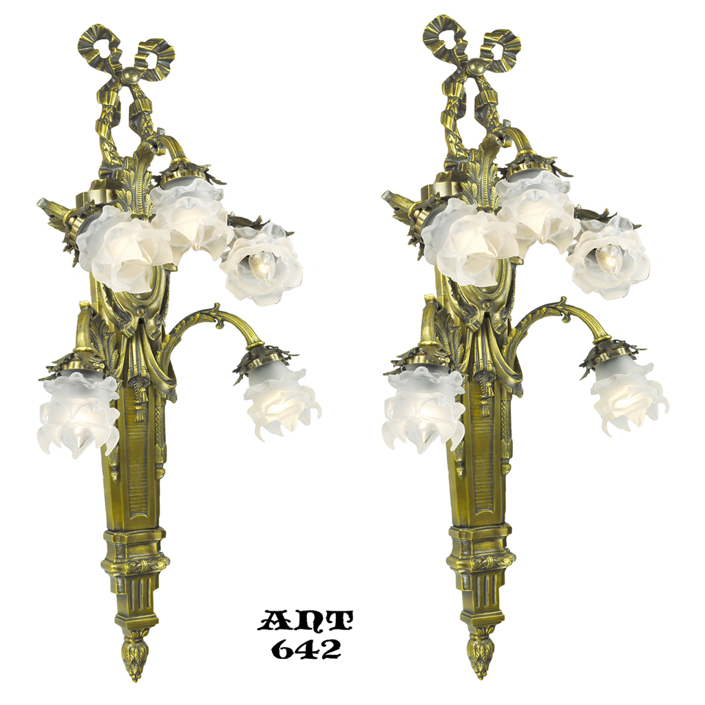 Antique French Wall Sconces Pair of Large 5 Arm Floral ... on Vintage Wall Sconces id=56650