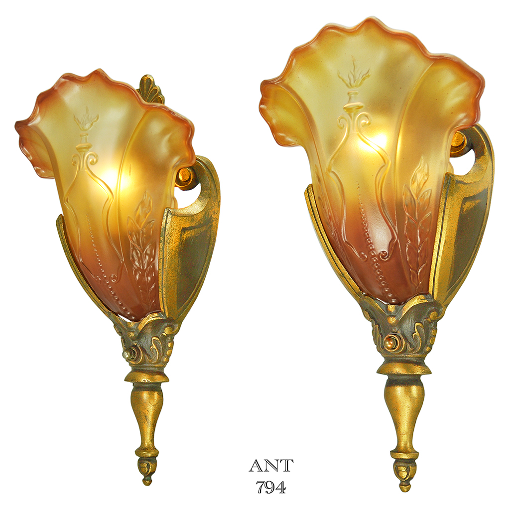 Pair of Art Deco Sconces Solid Bronze Antique Slip Shade ... on Vintage Wall Sconces id=52244