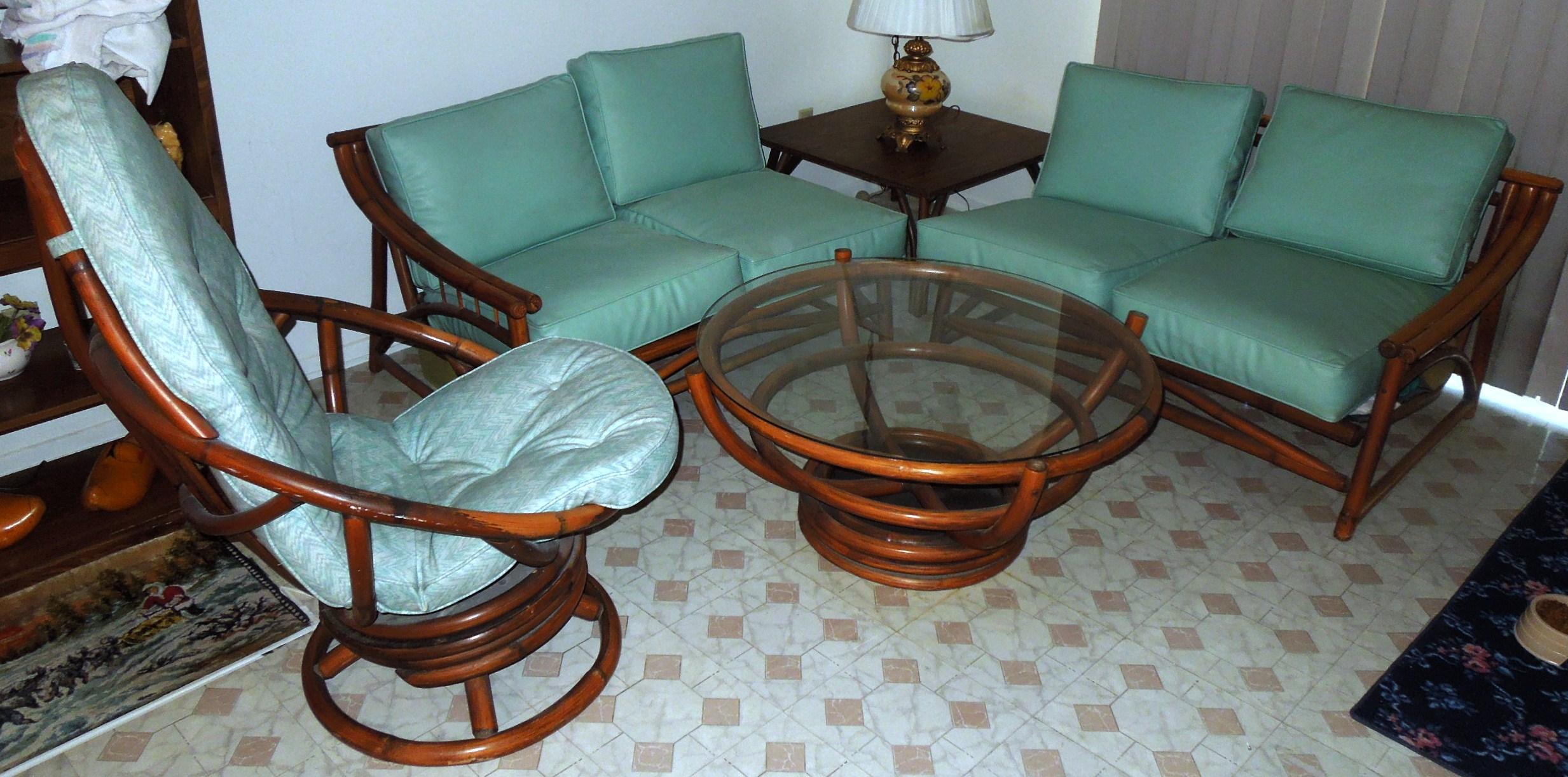 1960s Vintage Bamboo Vinyl Retro Living Room Furniture Set