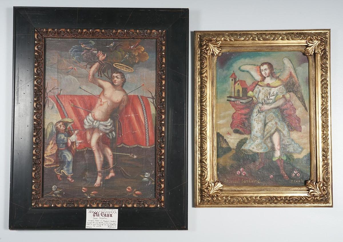 5898103 Two Oil on Canvas Retablos, San Gabriel and San Sebastian