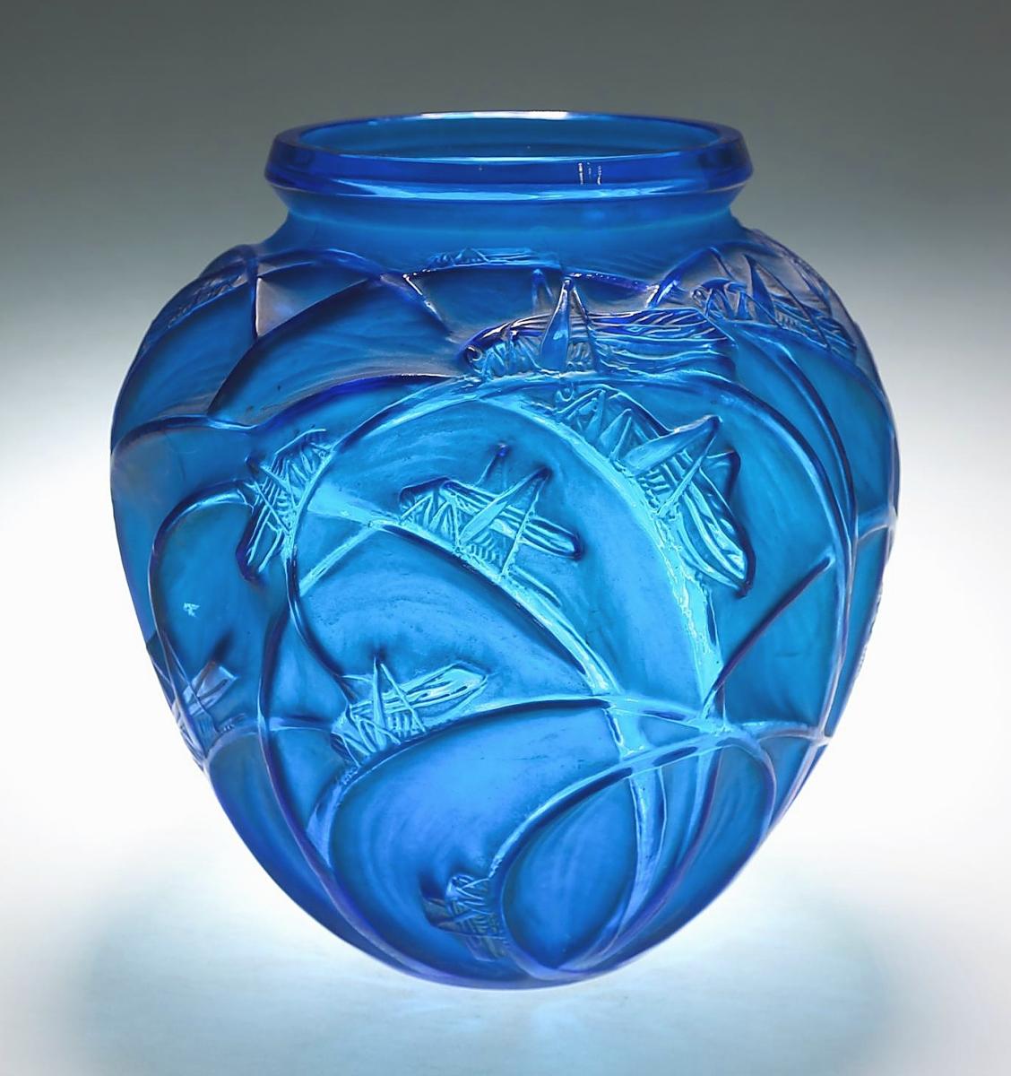 5898381 LEAD Rene Lalique, Electric Blue, White Stained Sauterelles Vase