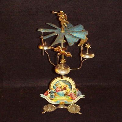 OLD GERMAN Tin Litho CHRISTMAS ANGEL CHIMES CANDLESTICK