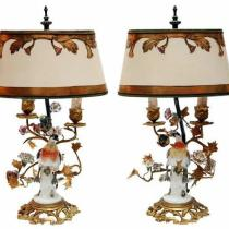 Lighting archives antiques of pasadena pair of 19th century french bronze mounted porcelain birds converted to lamps shades are included aloadofball Image collections
