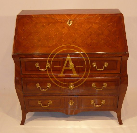 COMMODE-SCRIBAN MARQUETEE LOUIS XV