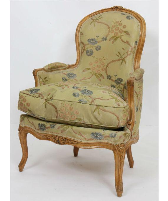 Bergère en bois naturel Louis XV