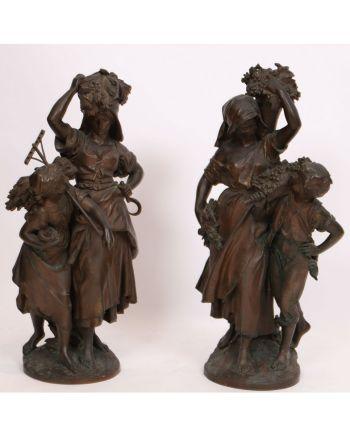 Rare paire de groupe en bronze de Mathurin MOREAU (1822-1912)
